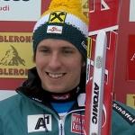 Marcel Hirscher führt beim Riesenslalom von Adelboden