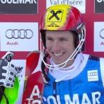 Marcel Hirscher führt nach dem 1. Slalom Durchgang in Val d'Isere