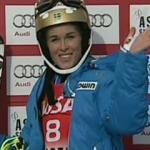 Maria Pietilae-Holmner liegt nach dem 1. Slalom Durchgang in Aspen in Führung