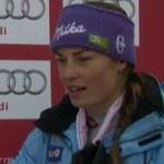 Tina Maze führt beim WM Riesenslalom der Damen in Garmisch Partenkirchen