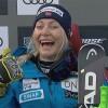 Ranghild Mowinckel freut sich über Bestzeit beim 1. Abfahrtstraining in Cortina d'Ampezzo
