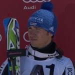 Neureuther beim Slalom in Schladming (AUT) auf dem Podest, Myhrer siegt