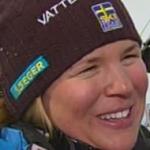 Anja Pärson Schnellste beim 1. Abfahrtstraining in Sestriere.
