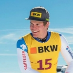 Stefan Rogentin freut sich über den Heimsieg in der Europacupabfahrt von Wengen