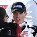 Florian Scheiber und Gauthier de Tessieres gewinnen zeitgleich Super G Europacuprennen in Santa Caterina.