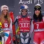 Ester Ledecká rast in der 1. Lake Louise Abfahrt zu ihrem ersten Weltcupsieg