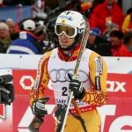 Der Kanadier Brad Spence führt nach dem 1. Durchgang beim EC Slalom in Obereggen