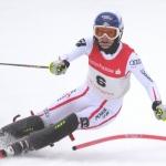 Carmen Thalmann im zweiten Europacup Slalom von Innichen am Podest