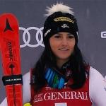 ÖSV NEWS: Stephanie Venier freut sich über den dritten Platz in der Abfahrt.