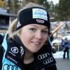 Die deutsche Super-G-Meisterin Michaela Wenig freut sich über ihren Erfolg