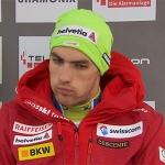 Daniel Yule führt nach dem ersten Slalomdurchgang von Chamonix